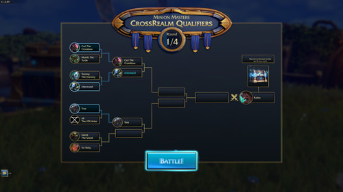 Crossrealm qualifiers screenshot of Minion Masters video game interface.