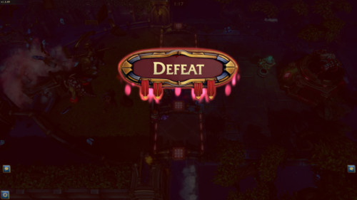 Defeat screenshot of Minion Masters video game interface.
