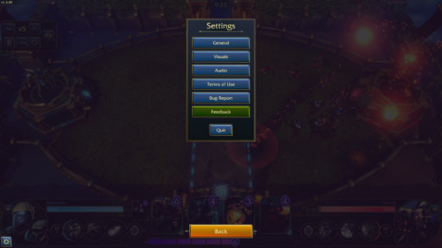 In game settings screenshot of Minion Masters video game interface.