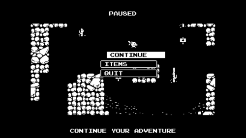 Paused screenshot of Minit video game interface.
