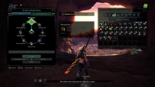 Add to radial menu screenshot of Monster Hunter: World video game interface.