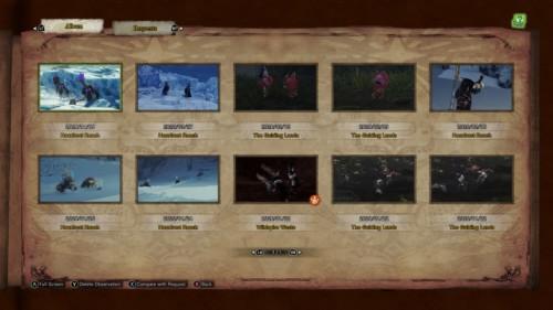 Album screenshot of Monster Hunter: World video game interface.
