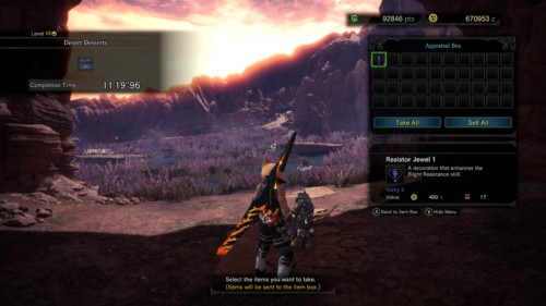 Appraisal box screenshot of Monster Hunter: World video game interface.