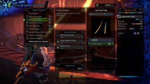 Augment equipment screenshot of Monster Hunter: World video game interface.