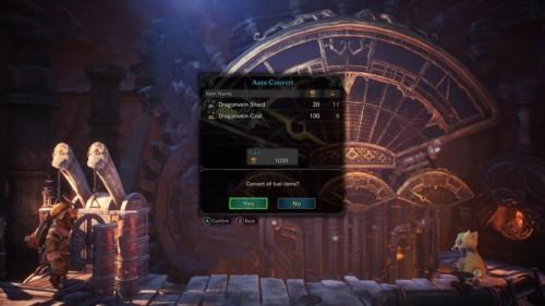 Auto convert screenshot of Monster Hunter: World video game interface.