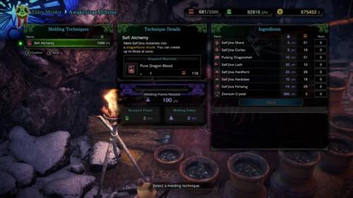 Awakening alchemy screenshot of Monster Hunter: World video game interface.