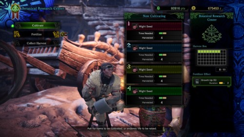 Botanical research center screenshot of Monster Hunter: World video game interface.