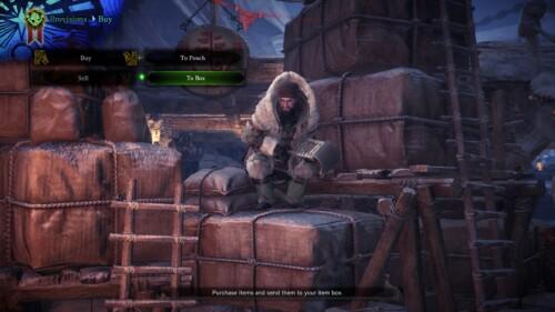 Buy provisions screenshot of Monster Hunter: World video game interface.