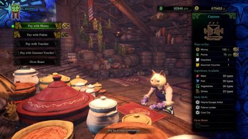 Canteen screenshot of Monster Hunter: World video game interface.