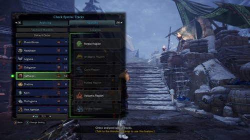 Check special tracks screenshot of Monster Hunter: World video game interface.