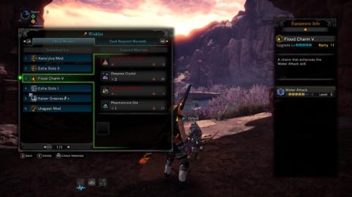 Check wishlist screenshot of Monster Hunter: World video game interface.