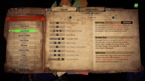 Controls screenshot of Monster Hunter: World video game interface.