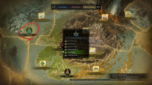 Select departure point screenshot of Monster Hunter: World video game interface.