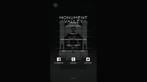 About Menu screenshot of Monument Valley video game interface.