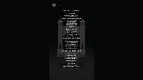 Credits screenshot of Monument Valley video game interface.
