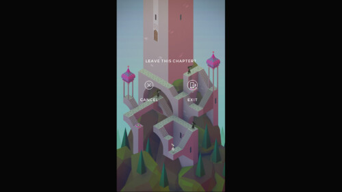 Exit Game Menu screenshot of Monument Valley video game interface.