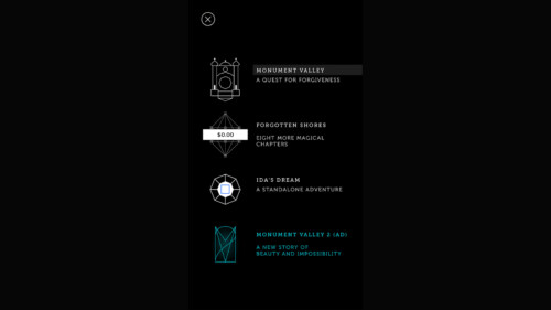 Extras Menu screenshot of Monument Valley video game interface.