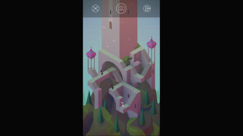 In Game Camera and Exit Menu screenshot of Monument Valley video game interface.