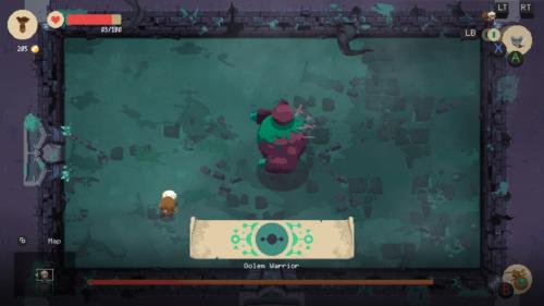 Boss screenshot of Moonlighter video game interface.