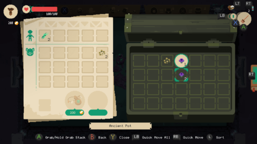Chest screenshot of Moonlighter video game interface.