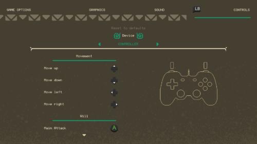 Controls screenshot of Moonlighter video game interface.