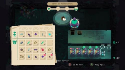 Death by misadventure screenshot of Moonlighter video game interface.