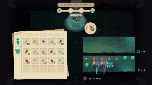 Escaped with pendant screenshot of Moonlighter video game interface.