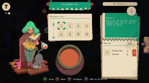 Potions list screenshot of Moonlighter video game interface.