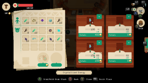 Selling items screenshot of Moonlighter video game interface.