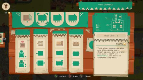 Shop upgrades screenshot of Moonlighter video game interface.