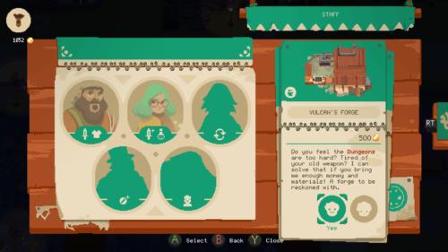 Staff screenshot of Moonlighter video game interface.
