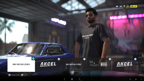 Character Customisation screenshot of Need for Speed Heat video game interface.
