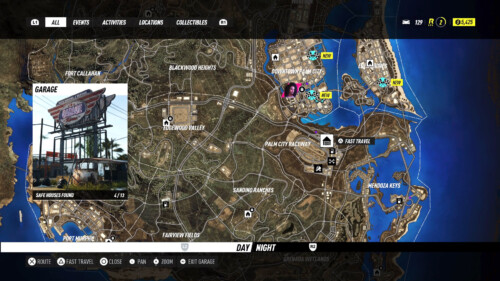 Map screenshot of Need for Speed Heat video game interface.