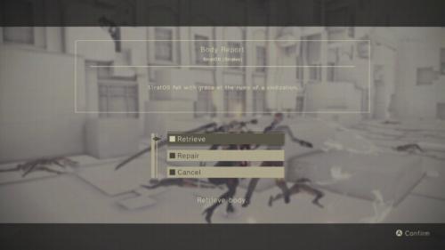 Body Report screenshot of NieR:Automata video game interface.