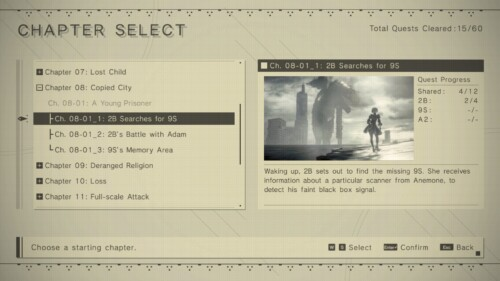 Chapter Select screenshot of NieR:Automata video game interface.