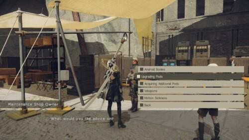 Dialoge Options screenshot of NieR:Automata video game interface.