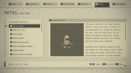 Intel screenshot of NieR:Automata video game interface.