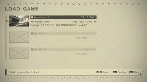 Load Game screenshot of NieR:Automata video game interface.