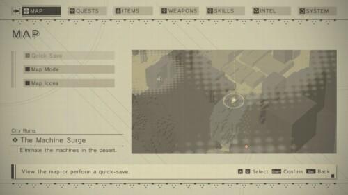 Map screenshot of NieR:Automata video game interface.