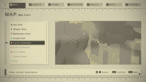 Map: Icons screenshot of NieR:Automata video game interface.