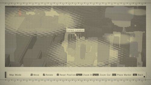 Map Mode  screenshot of NieR:Automata video game interface.