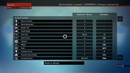 Controls Map screenshot of No Man's Sky video game interface.