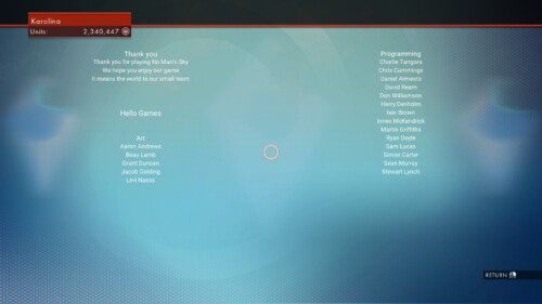 Credits screenshot of No Man's Sky video game interface.