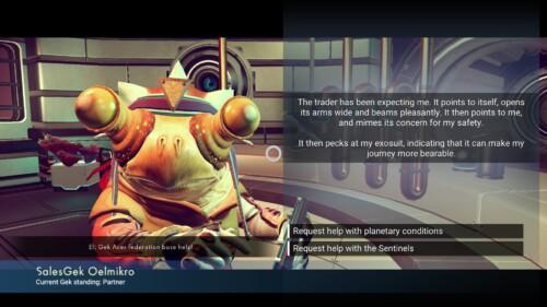 Dialogue screenshot of No Man's Sky video game interface.