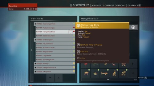 Discoveries screenshot of No Man's Sky video game interface.