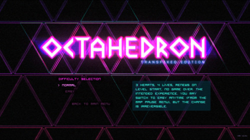 Difficulty selection screenshot of Octahedron video game interface.
