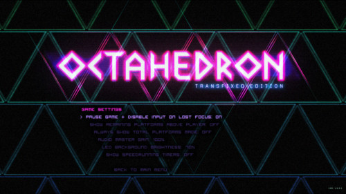 Game settings screenshot of Octahedron video game interface.