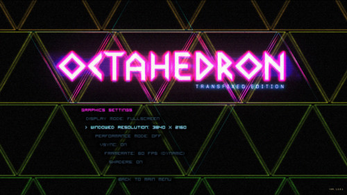 Graphics settings screenshot of Octahedron video game interface.