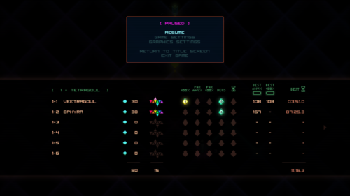 Paused screenshot of Octahedron video game interface.