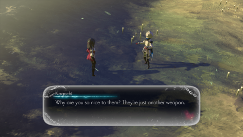 Dialogue screenshot of Oninaki video game interface.